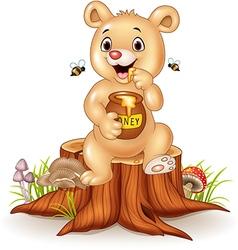 Cute baby bear holding honey pot on tree stump vector image