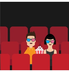 Love couple sitting in movie theater eating vector