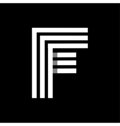 Capital letter f made of three white stripes vector