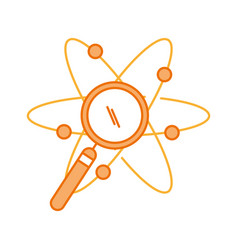Atom molecule with magnifying glass vector