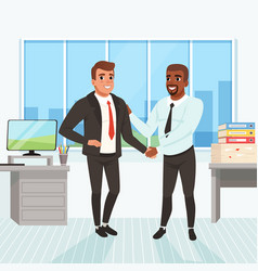Boss congratulating employee with career promotion vector