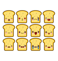 bread slice toast cartoon mascot character funny vector image