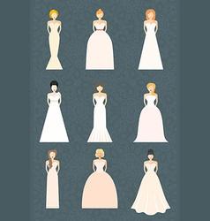 Brids In Wedding Dresses vector image vector image