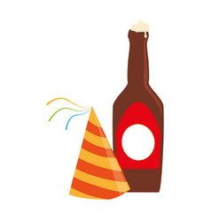Color silhouette with beer bottle and party hat vector