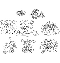 Coloring autumn elements for children vector image vector image