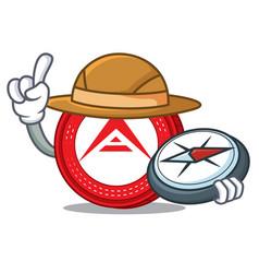 Explorer ark coin character cartoon vector