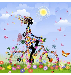 flower bike girl vector image