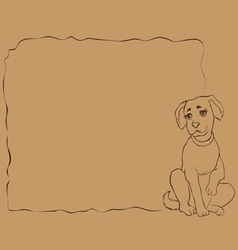 Frame with puppy vector