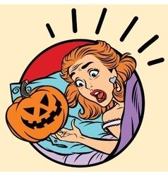 Girl scared Halloween evil pumpkin vector image vector image