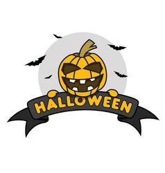 Halloween Pumpkin on Ribbon vector image vector image