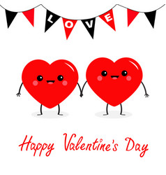 Happy valentines day two red heart family couple vector
