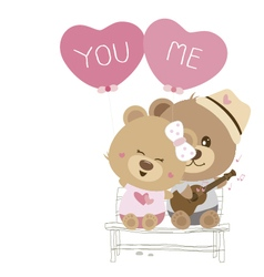 Love concept of couple teddy bear doll sing a song vector image vector image