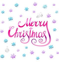 Merry christmas - pink glittering lettering design vector