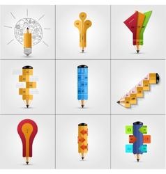 modern pencil infographics set vector image