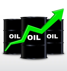 Oil barrels and green arrow chart up trend vector