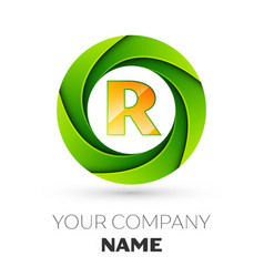 Realistic letter r logo in the colorful circle vector