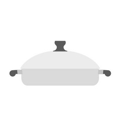 Roaster pan isolated kitchen utensils on white vector