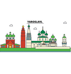 russia yaroslavl city skyline architecture vector image