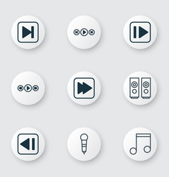 set of 9 music icons includes audio buttons skip vector image