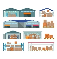 Set of warehouses for goods storing and delivering vector
