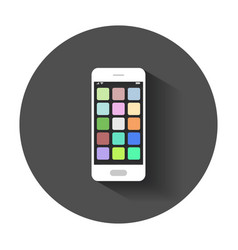 Smartphone icon with app phone with long shadow vector