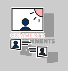 sticker self photo concept comments on the photo vector image vector image