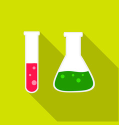 Test tube and retort icon flat single education vector