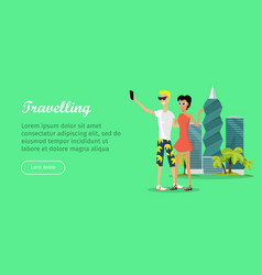 travelling banner in flat style people make vector image vector image