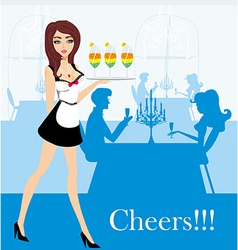 Waitress serving colorful drinks vector
