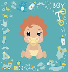 with cute baby boy vector image vector image