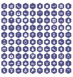 100 gift icons hexagon purple vector