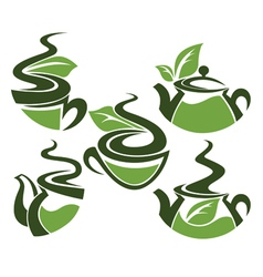 Herbal tea collection of cups and tea pots vector