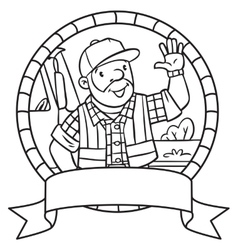 Coloring book of funny driver or worker Emblem vector image