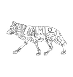 Steampunk style wolf coloring book vector image