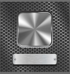 Metal square button with rectangle plate on vector