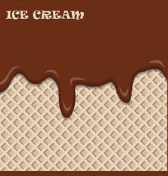 chocolate ice cream with wafer vintage abstract vector image