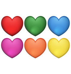 Icon design of heart shape in many colors vector