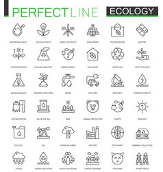 Ecology thin line web icons set outline stroke vector