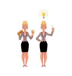 Businesswoman eats sandwich and coffee gets an vector