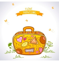 Travel suitcase color vector