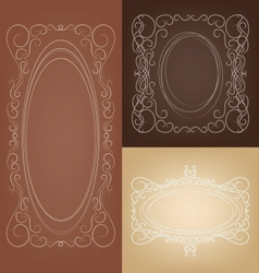 Set of vintage border frame card with swirl lace vector