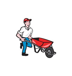 Gardener pushing wheelbarrow cartoon vector