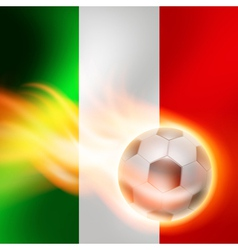 Burning football on italy flag background vector