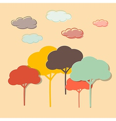 Retro paper colorful trees and clouds vector