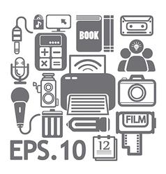 Web media icons set vector