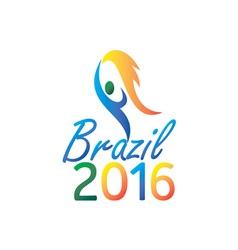 Brasil 2016 Summer Games Flaming Torch vector image