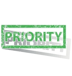 Green outlined priority stamp vector