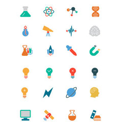Science colored icons 1 vector