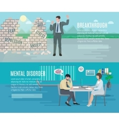 Mental health flat banners set vector