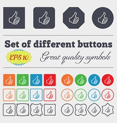 Like sign icon thumb up symbol hand finger-up big vector